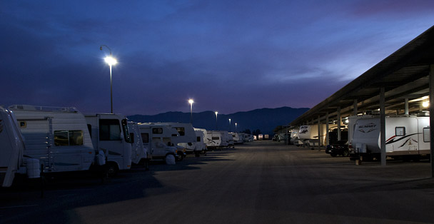 RV storage at night